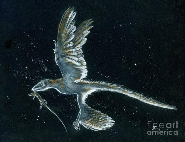 Cretaceous Wall Art - Painting - Moonlight Hunt - Microraptor by Julius Csotonyi