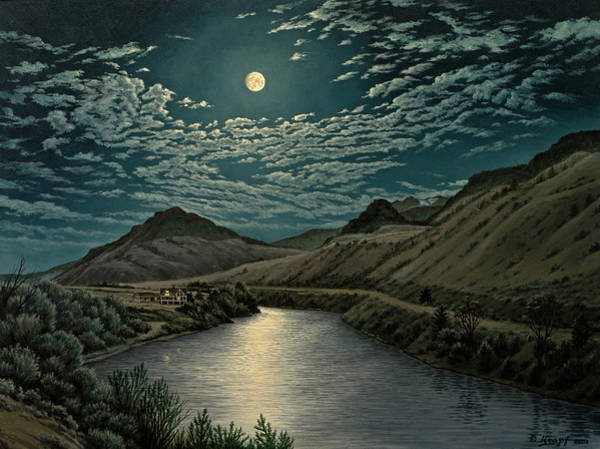 Wall Art - Painting - Moonlight On The Yellowstone by Paul Krapf