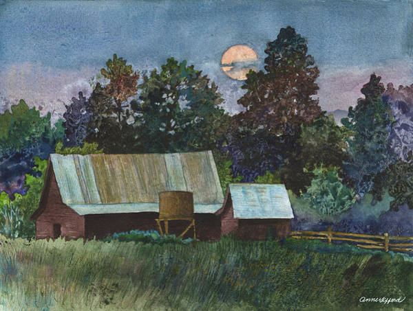 Barns Wall Art - Painting - Moonlight Over Caribou by Anne Gifford