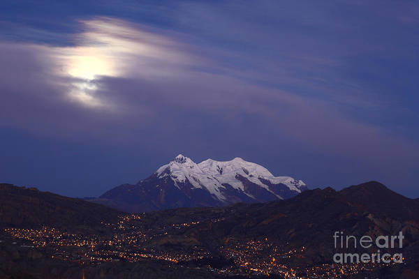 Photograph - Moonlight Over Mt Illimani by James Brunker