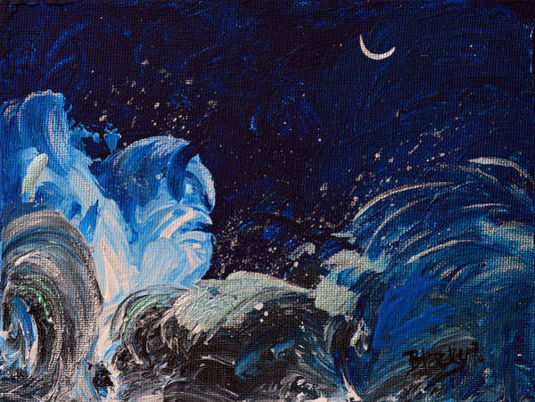 Wall Art - Painting - Moonlight Over Raging Water by Donna Blackhall