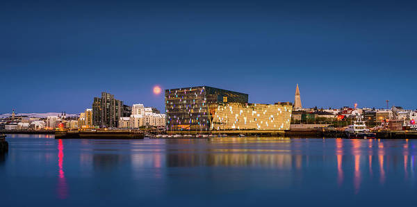 Fn Photograph - Moonlight Over Reykjavik Harbor by Panoramic Images