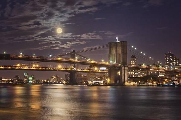 Photograph - Moonlight Over The Brooklyn Bridge by Harriet  Feagin