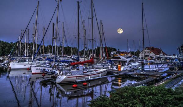 Moonlight Over Yacht Marina In Leba In Poland Art Print