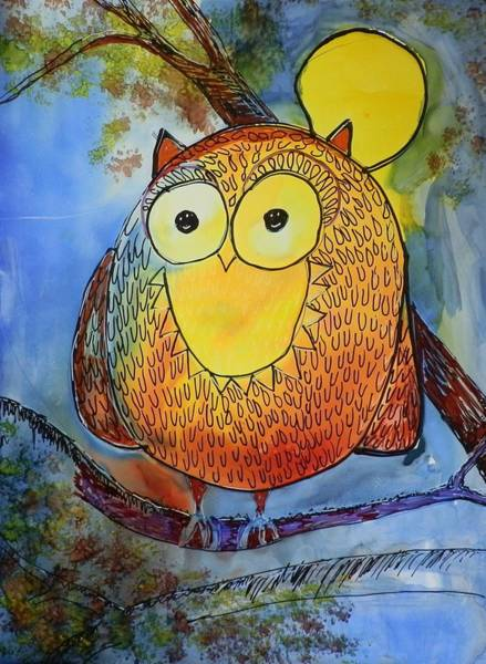 Elwood Blues Painting - Moonlight Owl by Jann Elwood