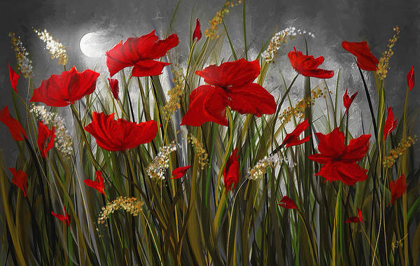 Red Moon Painting - Moonlight Poppies - Poppies At Night Painting by Lourry Legarde