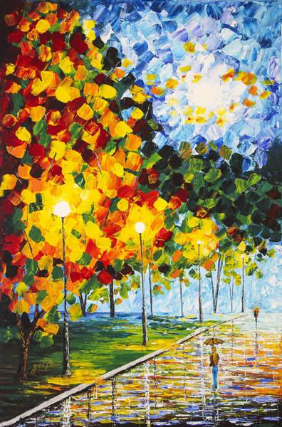 Painting - Moonlight Raindrops Original Acrylic Palette Knife Painting by Georgeta Blanaru