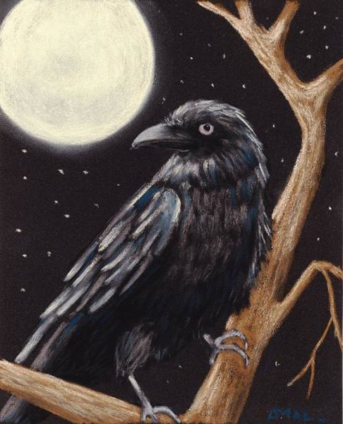 Wall Art - Painting - Moonlight Raven by Anastasiya Malakhova
