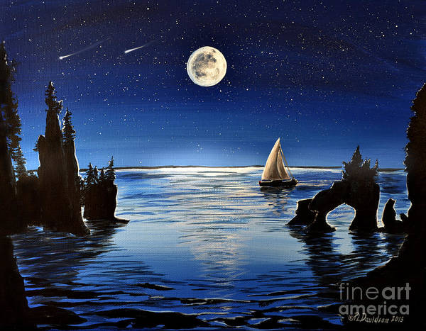 Star Formation Painting - Moonlight Sailing By Hopewell Rocks by Patricia L Davidson