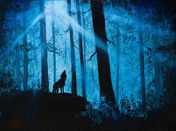Pine Forest Painting - Moonlight Serenade by Chris Steele