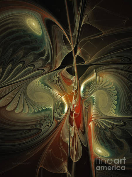 Symmetrical Digital Art - Moonlight Serenade Fractal Art by Karin Kuhlmann