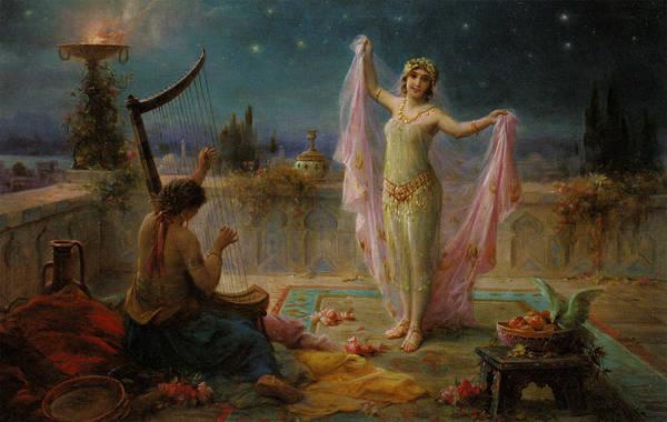 Harp Digital Art - Moonlight Serenade by Hanz Zatzka