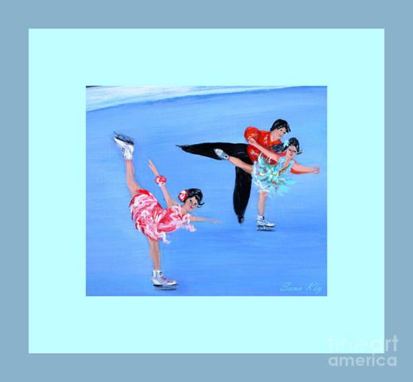 Pairs Skating Painting - Moonlight Skating. Card by Oksana Semenchenko