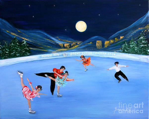 Painting - Moonlight Skating by Oksana Semenchenko