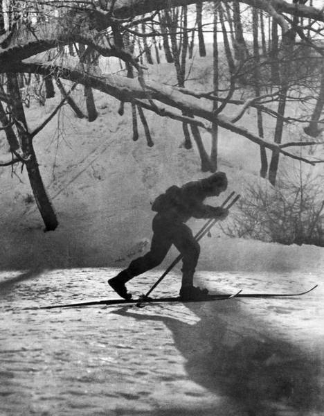 Exertion Wall Art - Photograph - Moonlight Skiing In Russia by Underwood Archives