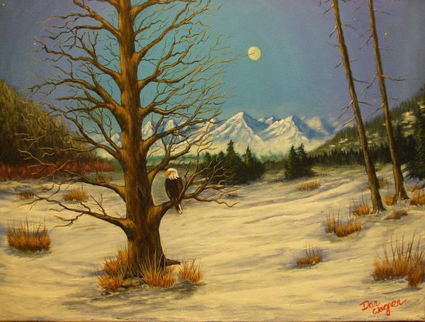 Painting - Moonlighting Eagle by Dan Wagner