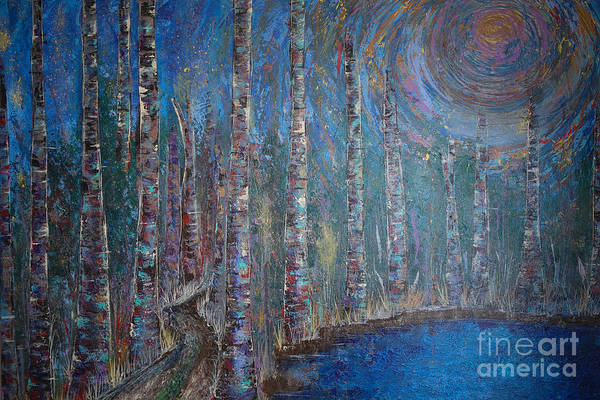 Spiritual Growth Painting - Moonlit Birch Path In Blue by Jacqueline Athmann