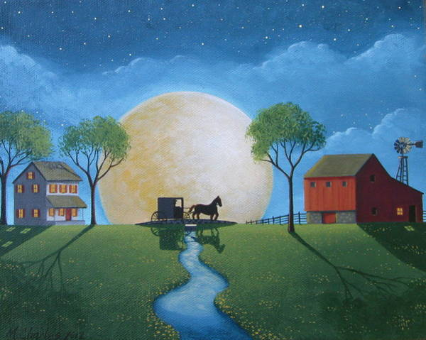Amish Wall Art - Painting - Moonlit Buggy Ride by Mary Charles