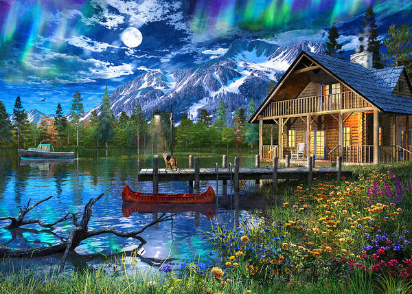 Wall Art - Painting - Moonlit Cabin Retreat by MGL Meiklejohn Graphics Licensing