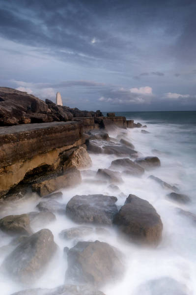 Wall Art - Photograph - Moonlit Needle At Portland Bill by Chris Frost