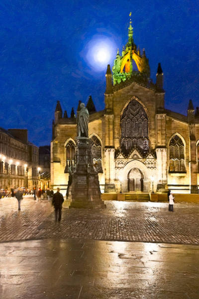 Photograph - Moonlit Night At  St Giles' Cathedral by Mark Tisdale