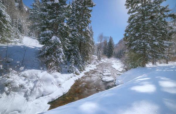 Photograph - Moonlit Winter Stream by Darren  White