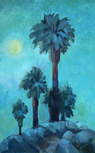 Canaries Painting - Moonrise And Palms by Diane McClary
