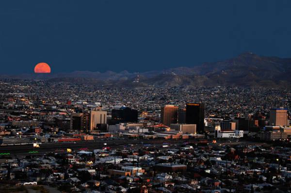 Downtown El Paso Photograph - Moonrise  El Paso Texas by Alfredo Martinez