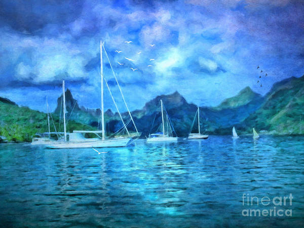 Society Digital Art - Moonrise In Mo'orea by Lianne Schneider