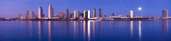 Wall Art - Photograph - Moonrise Over A City, San Diego by Panoramic Images