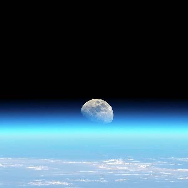 Earth Orbit Photograph - Moonrise Over Earth by Detlev Van Ravenswaay