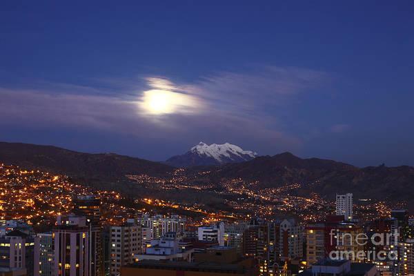 Photograph - Moonrise Over La Paz Bolivia by James Brunker