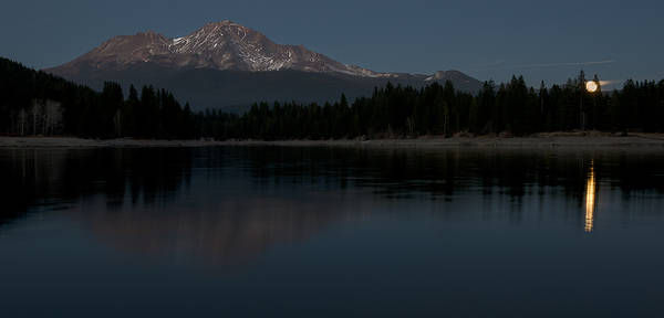 Photograph - Moonrise Over The Lake At Mount Shasta by Loree Johnson