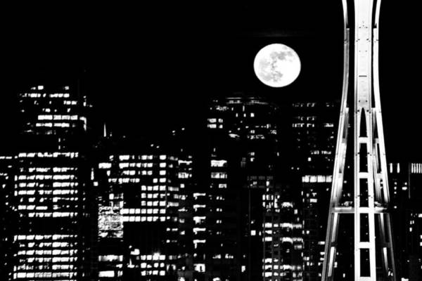 Wall Art - Photograph - Moonrise Seattle by Benjamin Yeager
