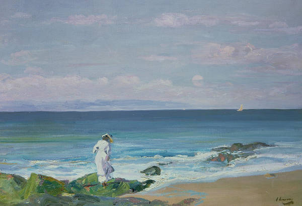 Blue Dress Painting - Moonrise by Sir John Lavery