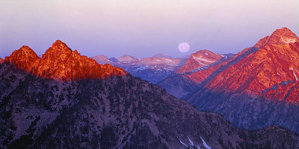 Photograph - 1m5910-moonset And Sunrise On Wallowa Mountains, Or by Ed  Cooper Photography