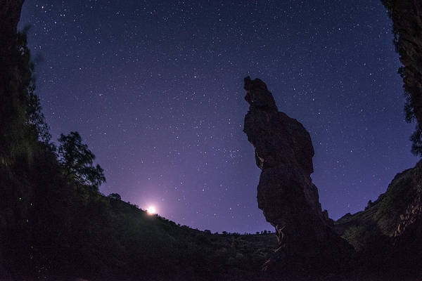 Moonscape Photograph - Moonset On The Needle by Aaron Bedell