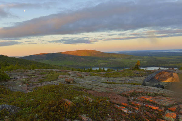 Wall Art - Photograph - Moonset Over Cadillac Mountain by Stephen  Vecchiotti
