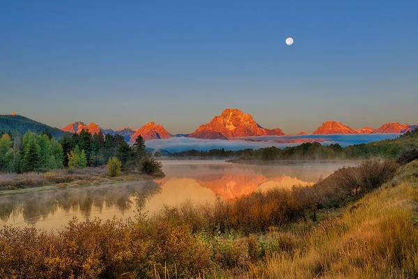 Photograph - Moonset Over Oxbow Bend by Greg Norrell