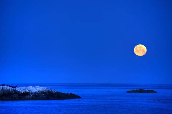 Photograph - Moonset Over Pacific Ocean by Cliff Wassmann