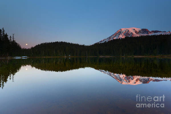 Wall Art - Photograph - Moonset Over Rainier by Mike  Dawson