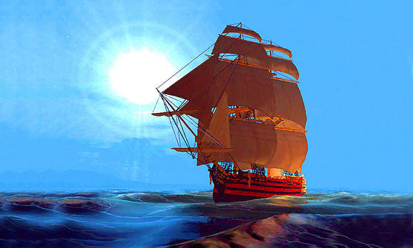 Digital Art - Moonship Galleon Filtered by Duane McCullough