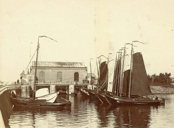 Wall Art - Drawing - Moored Sailing Vessels In The Oranjesluizen In Amsterdam by Artokoloro