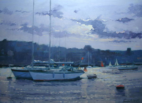 Mooring Painting - Moored Yachts by Jennifer Wright