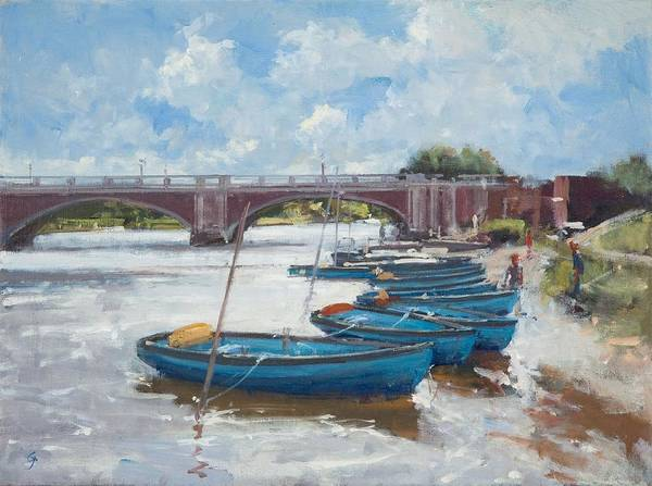Wall Art - Photograph - Moorings At Hampton Court, 2011 Oil On Canvas by Christopher Glanville