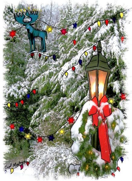 Photograph - Moose Christmas Hanukkah Card by Carol Montoya