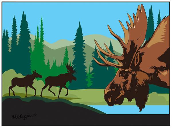 Rockies Digital Art - Moose by Derrick Higgins