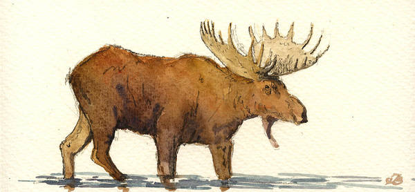 Moose Painting - Moose by Juan  Bosco