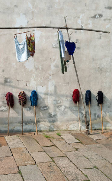 Mops And Laundry 1  Wuzhen China Art Print