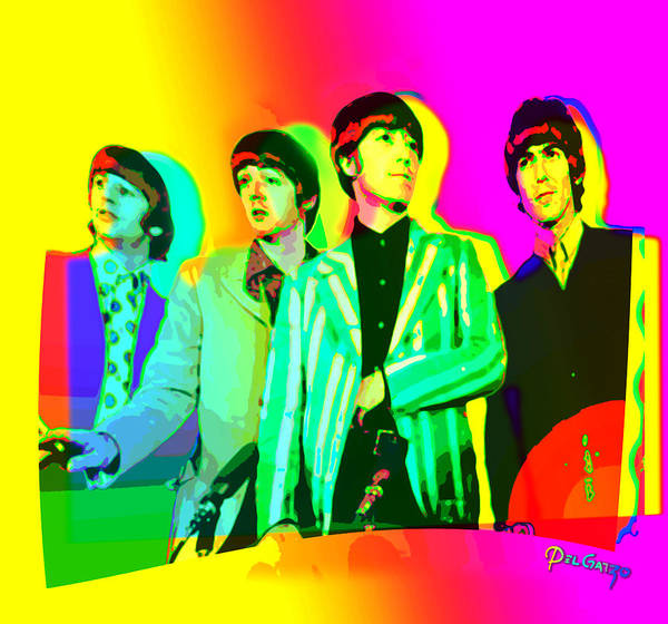 1968 Mixed Media - Moptops Pop '68 Beatles by Del Gaizo